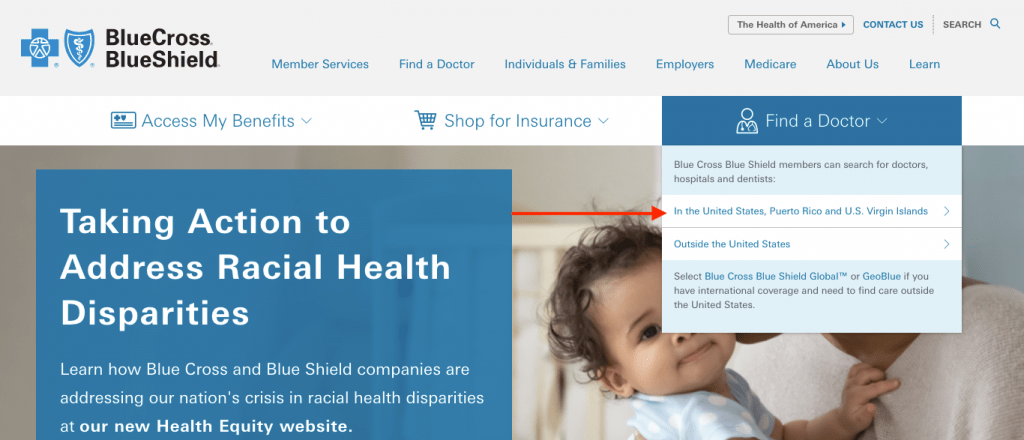 BCBS Find A Doctor In the United States from the Home Page. Shows an arrow pointing to Find A Doctor In the United States.