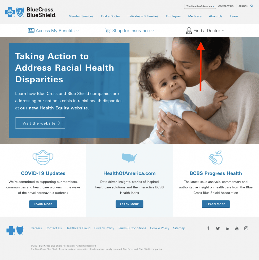 BCBS Homepage. Shows a mother with a child and is pointing to Find A Doctor.