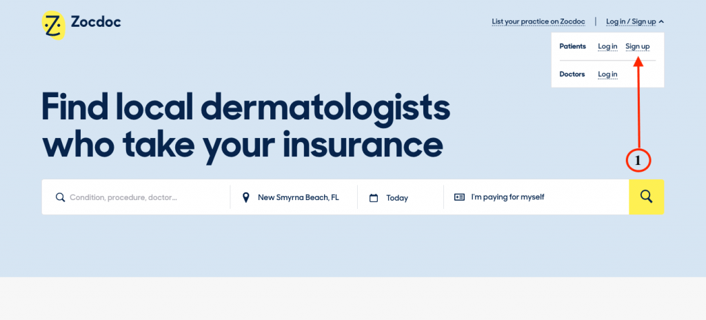 Zocdoc signup button on homepage.