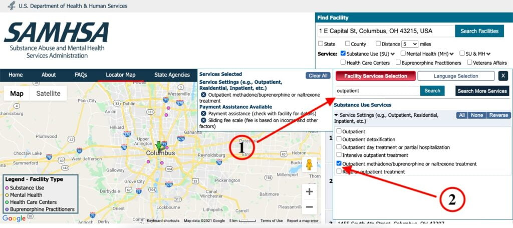 Only display outpatient methadone/buprenorphine/naltrexone treatment centers on the SAMHSA treatment locator.